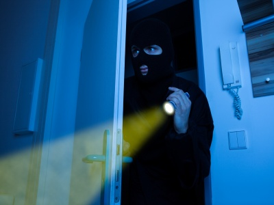 Burglar in house with torch