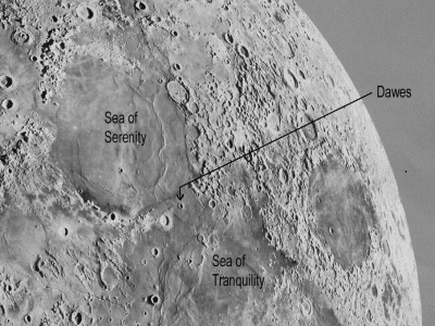 Dawes Crater on the moon
