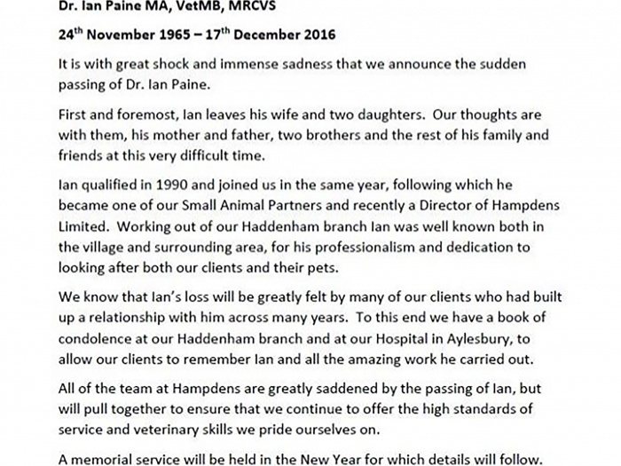 Dr Ian Paine Announcement