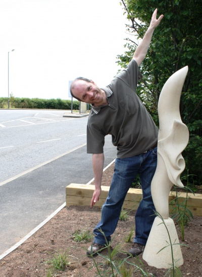 Frederic Chevarin with Red Kite Sculpture