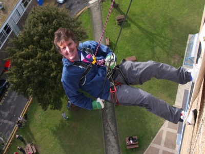 Mary Abseiling for Charity 01
