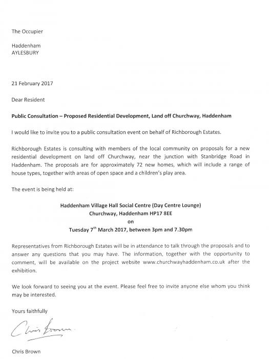 Richborough Estates' letter