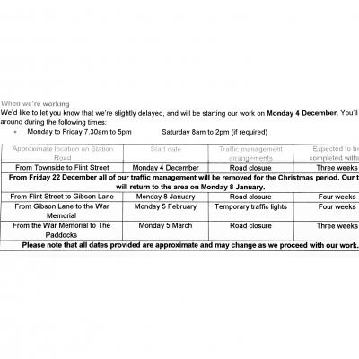 Thames Water_Station Rd Work Schedule