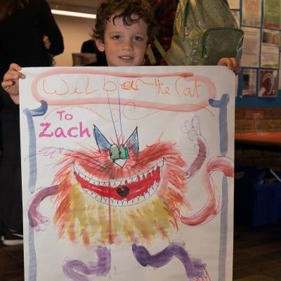 Zach with his 'Wilbur' Illustration